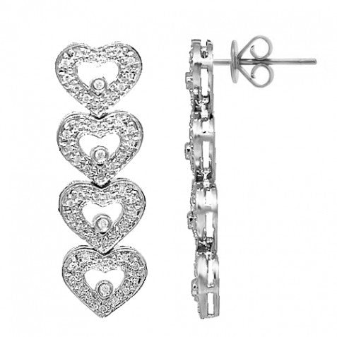 14K White Solid Gold Womens Diamond Heart Earrings 0.46 Ctw