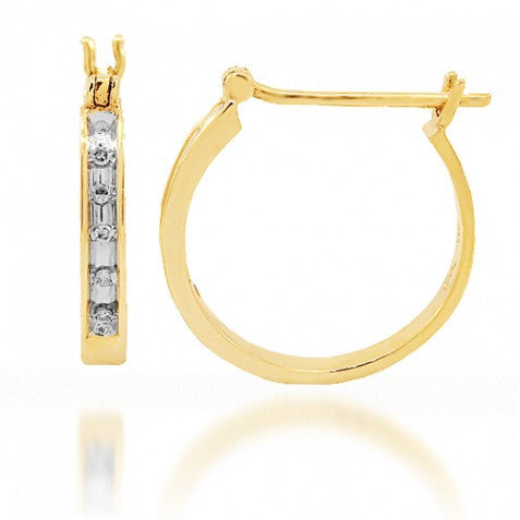 10K Yellow Solid Gold Womens Diamond Huggie Earrings 0.20 Ctw