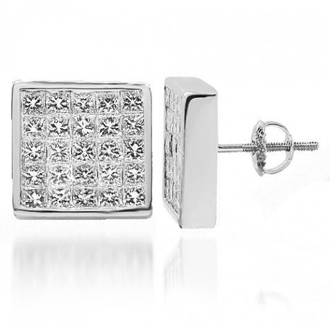 18K White Solid Gold Diamond Stud Earrings 4.50 Ctw