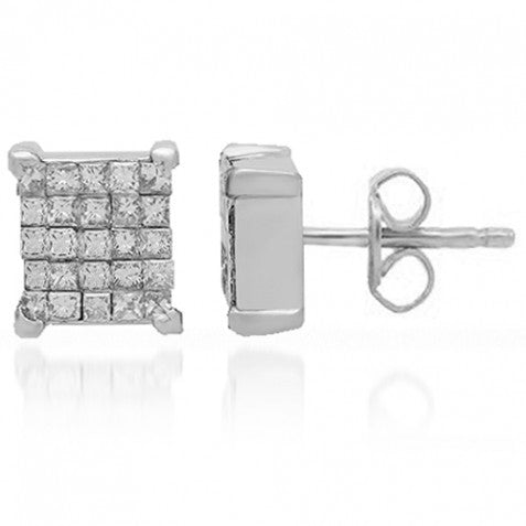 14K Solid White Gold Diamond Stud Earrings 1.00 Ctw
