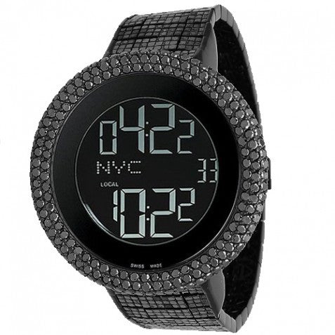 Gucci I-Gucci Digital Mens Custom Black Diamond Watch 52.00 Ctw