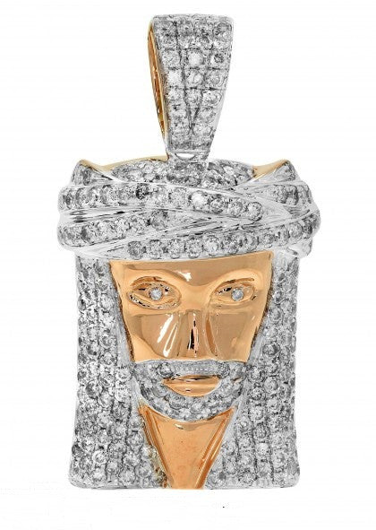 10k Diamond Rose Gold Jesus Head Pendant