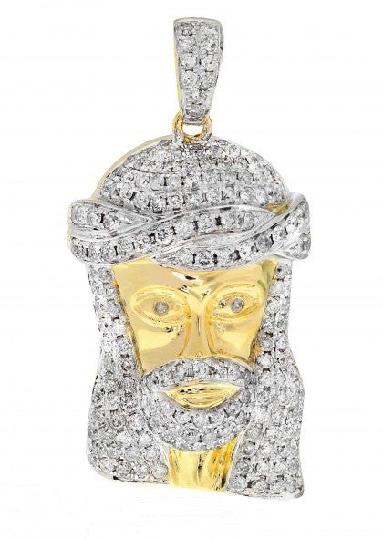 10k Yellow Gold Jesus Head Pendant