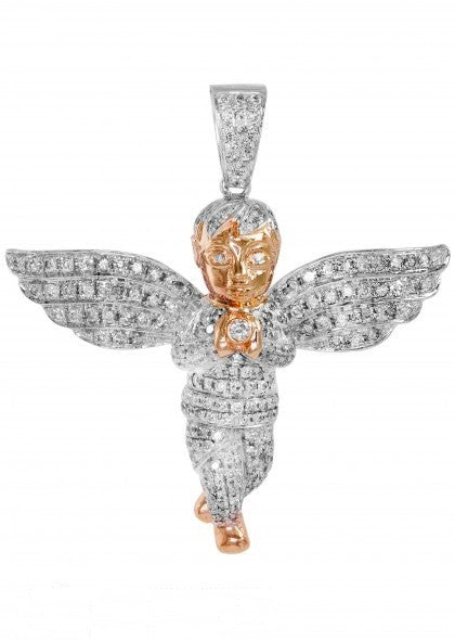 10k Diamond Rose Gold Angel Pendant