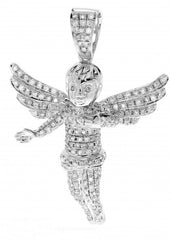 10k Diamond White Gold Angel Pendant