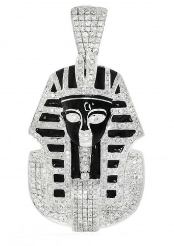 10k White Gold Pharaoh Head Pendant