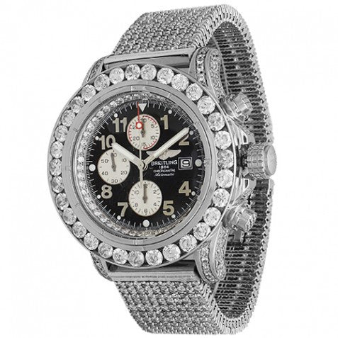 Breitling Super Avenger Mens Custom Diamond Watch 37.27 Ctw