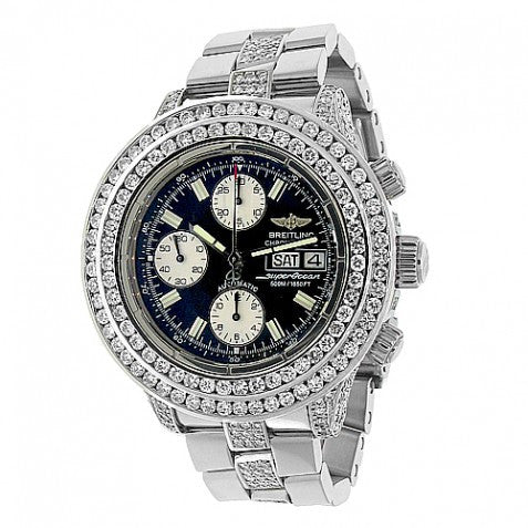 Breitling SuperOcean Chrono Custom Diamond Watch 14.82 Ctw