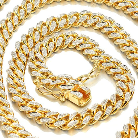 10k Yellow Gold Pave Chain