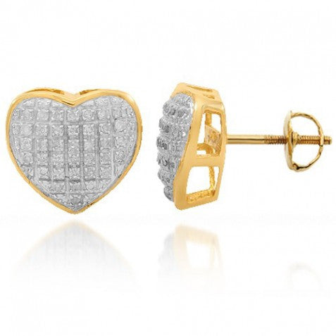 10K Solid Yellow Gold Womens Diamond Heart Stud Earrings 0.25 Ctw