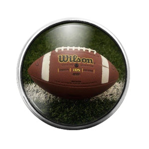 Football Ball - 18MM Glass Dome Candy Snap Charm GD0916