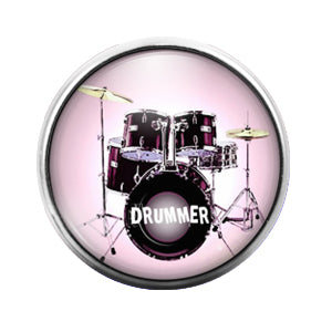 Drummer - 18MM Glass Dome Candy Snap Charm GD0561
