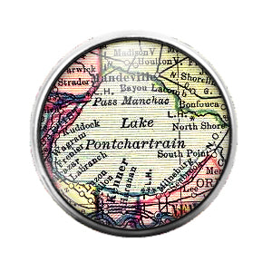 Louisiana Maps - 18MM Glass Dome Candy Snap Charm GD0494