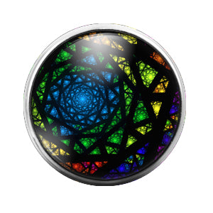 Rainbow Pattern - 18MM Glass Dome Candy Snap Charm GD0537