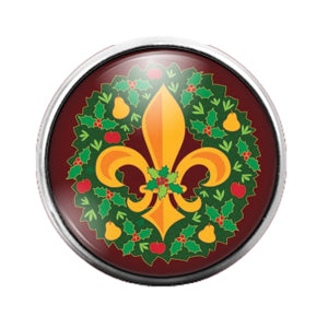 Wreath Fleur de Lis - 18MM Glass Dome Candy Snap Charm GD0689