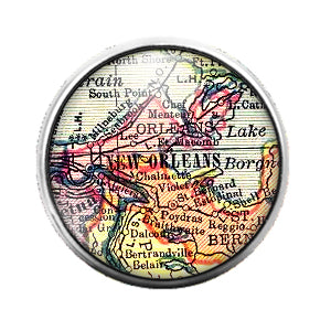 Louisiana Maps - 18MM Glass Dome Candy Snap Charm GD0495