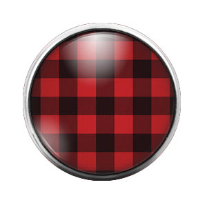 Plaid Pattern - 18MM Glass Dome Candy Snap Charm GD0535
