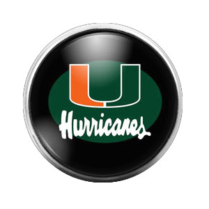 Miami Hurricanes - 18MM Glass Dome Candy Snap Charm GD1455