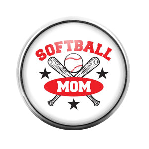 Softball Mom - 18MM Glass Dome Candy Snap Charm GD0524