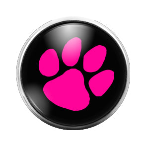 Pawprint Pink - 18MM Glass Dome Candy Snap Charm GD0505