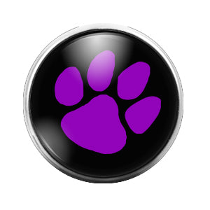 Pawprint Purple - 18MM Glass Dome Candy Snap Charm GD0504