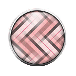 Plaid Pattern - 18MM Glass Dome Candy Snap Charm GD0536