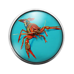 Crawfish Louisiana- 18MM Glass Dome Candy Snap Charm GD1210