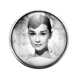 Audrey Hepburn- 18MM Glass Dome Candy Snap Charm GD0971