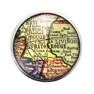 Louisiana Maps - 18MM Glass Dome Candy Snap Charm GD0496