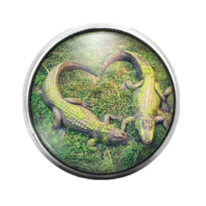 Alligator Heart - 18MM Glass Dome Candy Snap Charm GD0713