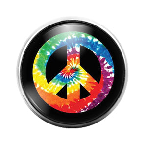 Peace Sign- 18MM Glass Dome Candy Snap Charm GD1324
