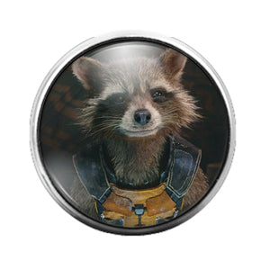 Rocket Raccoon - 18MM Glass Dome Candy Snap Charm GD0736