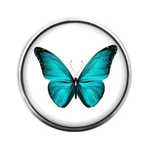 Butterfly Blue- 18MM Glass Dome Candy Snap Charm GD1362
