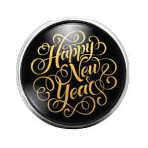 Happy New Year - 18MM Glass Dome Candy Snap Charm GD0679