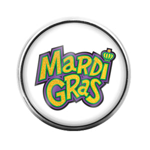 Mardi Gras Louisiana- 18MM Glass Dome Candy Snap Charm GD1325