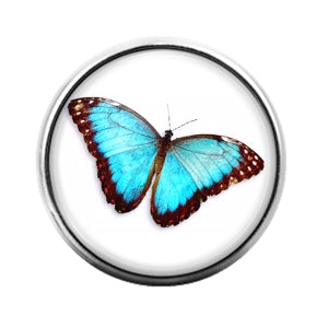 Butterfly Blue- 18MM Glass Dome Candy Snap Charm GD1363