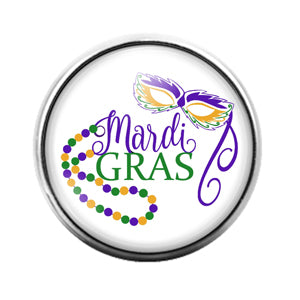 Mardi Gras Louisiana- 18MM Glass Dome Candy Snap Charm GD1326