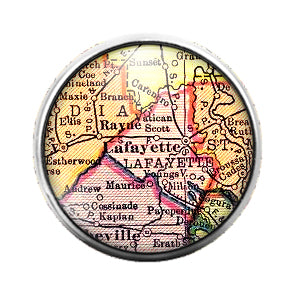 Louisiana Maps - 18MM Glass Dome Candy Snap Charm GD0497