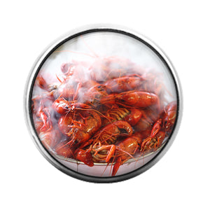 Crawfish Louisiana- 18MM Glass Dome Candy Snap Charm GD1211