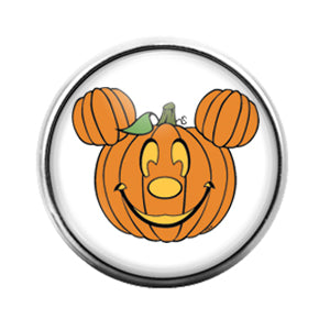 Mickey Pumpkin - 18MM Glass Dome Candy Snap Charm GD0672