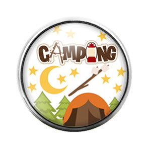 Camping - 18MM Glass Dome Candy Snap Charm GD0378