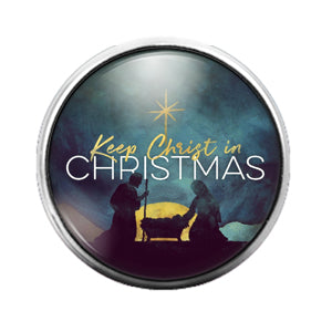 Keep Christ Christmas - 18MM Glass Dome Candy Snap Charm GD0895