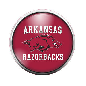 Arkansas Razorbacks - 18MM Glass Dome Candy Snap Charm GD1447