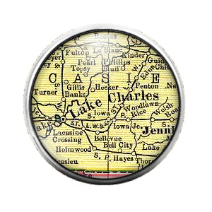 Louisiana Maps - 18MM Glass Dome Candy Snap Charm GD0498