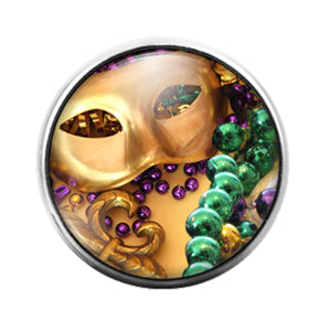 Mardi Gras Louisiana- 18MM Glass Dome Candy Snap Charm GD1327