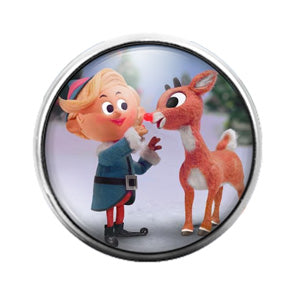Rudolph Reindeer Christmas - 18MM Glass Dome Candy Snap Charm GD0888