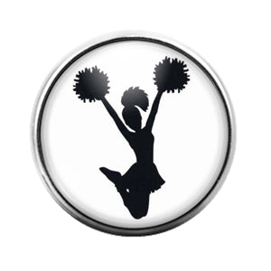 Cheerleader Silhouette- 18MM Glass Dome Candy Snap Charm GD1133
