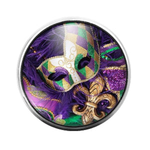 Mardi Gras Louisiana- 18MM Glass Dome Candy Snap Charm GD1328