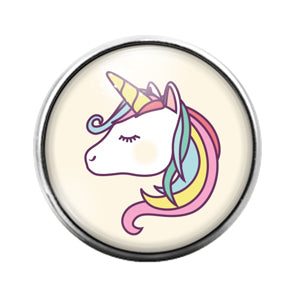 Unicorn- 18MM Glass Dome Candy Snap Charm GD0993