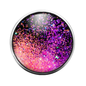 Glitter Pattern - 18MM Glass Dome Candy Snap Charm GD1497